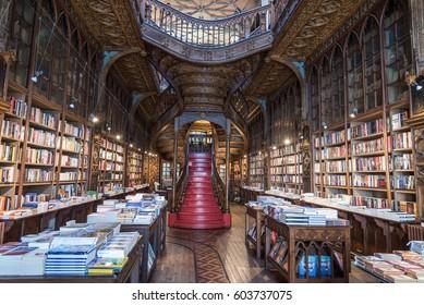 PORTO, PORTUGAL - 12 March 2017: Livraria Lello, one of the oldest bookstores in Portugal