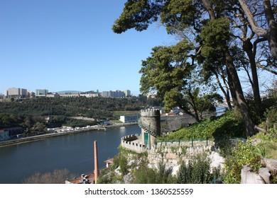 Porto, Portugal - 13th March, 2019: Views of the Douro River from the Jardins do Palácio de Cristal in Oporto