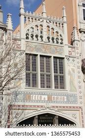 Porto, Portugal - 13th March 2019:  The Livraria Lello bookshop in central Oporto.