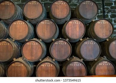 Porto, Portugal. 22 March 2019. Porto wine cellars in  Gaia riverside in Porto in Portugal.
