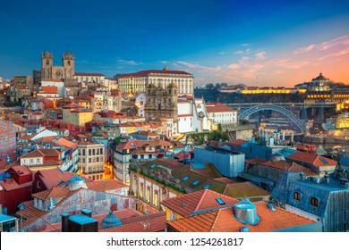 Porto, Portugal. Aerial cityscape image of Porto, Portugal with the Porto Cathedral and old town during sunset.