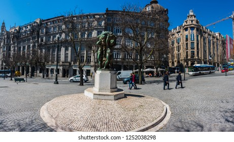 PORTO, PORTUGAL - APRIL 12 2017: Monument of Abundance Boys, Porto, Portugal.