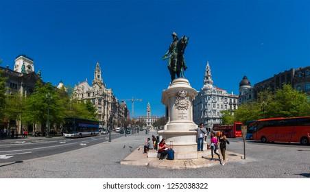 PORTO, PORTUGAL - APRIL 12 2017: Equestrian statue of Dom Pedro IV. Liberty Square, Porto, Portugal.