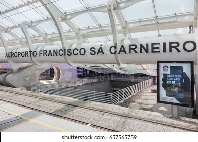 PORTO, PORTUGAL - APRIL 15, 2017: Metro station at Francisco Sa Carneiro international airport in Porto.