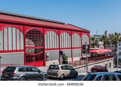 PORTO, PORTUGAL - APRIL 16, 2017: Mercado Ferreira Borges at Jardim do Infante Dom Henrique in old town. Mercado Ferreira Borges is market built in 1885 and named after a famous politician from Porto.