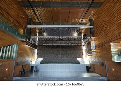 PORTO, PORTUGAL - APRIL 19, 2017: Interior of House of Music (Casa da Musica, 2005) - Modern Oporto Concert Hall; first building in Portugal exclusively dedicated to music.