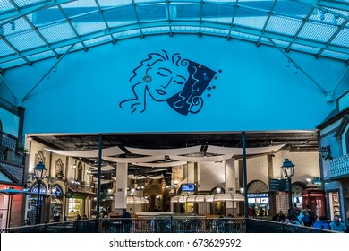 PORTO, PORTUGAL - APRIL 19, 2017: Interior of Via Catarina shopping mall. Via Catarina - oldest shopping area of Porto, 93 shops and number of restaurants that simulate traditional architecture.