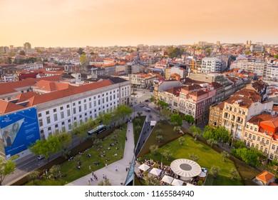 Porto, Portugal - April 20, 2018: Aerial view of Praca de Lisboa in Porto at sunset.