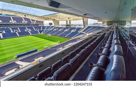 Porto, Portugal - April 2018:  The field and the tribunes at Estadio do Dragao - the official FC Porto playground