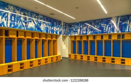 Porto, Portugal - April 2018: home changing room at Estadio do Dragao