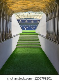 Porto, Portugal - April 2018: players tunnel at Estsdio do Dragao  - the official FC Porto playground