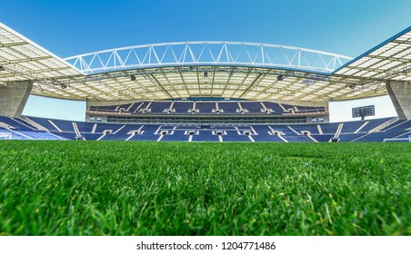 Porto, Portugal - April 2018: view on the field and the tribunes at Estadio do Dragao - the official playgrounds of FC Porto