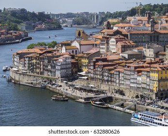 PORTO, PORTUGAL - APRIL 21: A view of Porto old town and Douro River in a beautiful spring day, Portugal in 2017