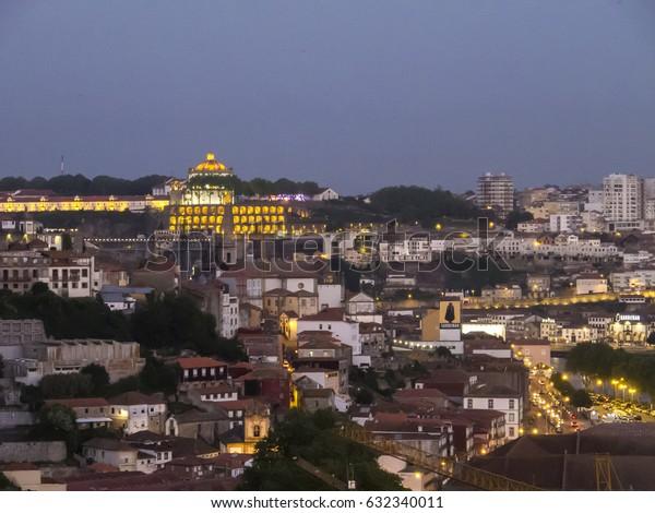 PORTO, PORTUGAL - APRIL 22: A view of Porto city center from Miradouro (terrace), Portugal in 2017