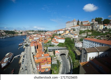 PORTO, PORTUGAL - APRIL 28, 2020: Empty streets Porto downtown during the Coronavirus Pandemic. The Portuguese Parliament extended the state of emergency until May 2, 2020 year.