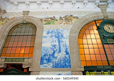 PORTO, PORTUGAL - APRIL 29, 2012: The Sao Bento Railway Station decorated with the masterpiece azulejo panels, depicting various scenes, including country life, on April 29 in Porto.
