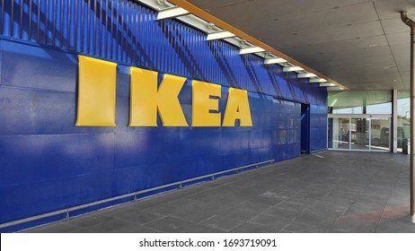Porto, Portugal - April 3 2020: Exterior of Ikea store in Matosinhos, Portugal showing big yellow sign.