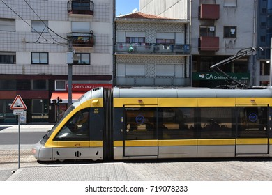 PORTO, PORTUGAL - AUG 22: Porto Metro Train in Portugal, as seen on Aug 22, 2016. It is a light rail network that runs underground in central Porto and above ground into the city's suburbs.