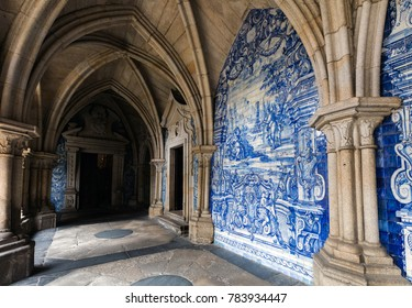 Porto, Portugal, August 14, 2017: The cloister walls of Porto's Cathedral are decorated with the traditional Portugese blue and white painted tin-glazed ceramic tiles called Azulejos.