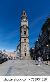 Porto, Portugal, August 15, 2017: Clerics Tower, designed by the Italian architect Nicolau Nasoni between 1732 and 1763 had became the architectural and visual icon of Porto.