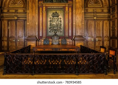 Porto, Portugal, August 15, 2017: Interior of the Neoclassical Bolsa Palace (Stock Exchange Palace) built in the 19th century. The palace is a major attraction in the city and a UNESCO Heritage site.