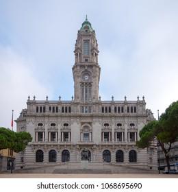 PORTO, PORTUGAL - AUGUST 2017: City Hall building (Camara Municipal do Porto) on Liberdade Square, Porto, Portugal.