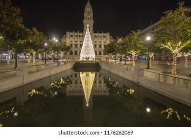 PORTO PORTUGAL: Christmas tree and city hall in Porto Portugal on January 7, 2018