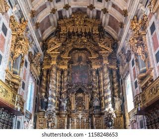 Porto, Portugal - December 10, 2016: Interior of Se Cathedral in Porto city in Portugal