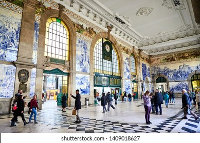 PORTO, PORTUGAL - DECEMBER 10, 2018: Porto old railway station Sao Bento, Portugal