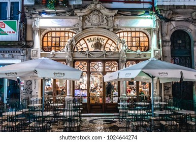 Porto, Portugal - December 7, 2016: Exterior of Cafe Majestic at Rua Santa Catarina Street in Porto