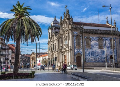 Porto, Portugal - December 8, 2016: Side view of famous twin churches - Carmelite Church and Carmo Church in Porto