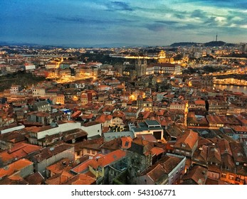 Porto, Portugal - December 8, 2016: Aerial view from bell tower of Clerigos church in Porto city