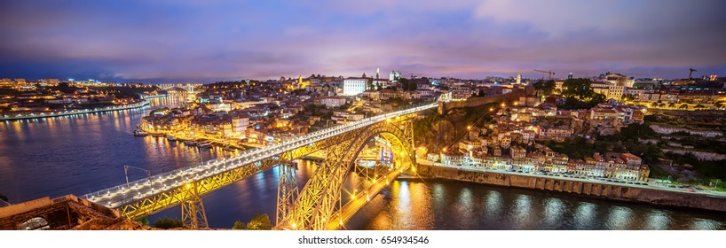 Porto, Portugal: the Dom Luis I Bridge and the old town at night
