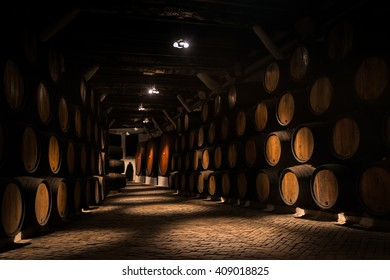 PORTO, PORTUGAL - FEBRUARY 11, 2016: Barrels of Porto vine in a cellar in Porto, Portugal