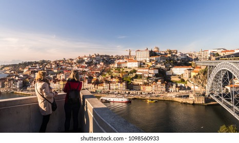PORTO, PORTUGAL - FEBRUARY 18, 2018: Historical center of Porto, Portugal, as seen from the other side fo the Douro River.