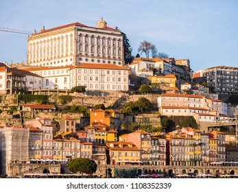 PORTO, PORTUGAL - FEBRUARY 18, 2018: Historical center of Porto, Portugal, as seen from the other side of the Douro river.