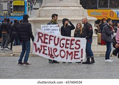 Porto, Portugal - February, 26, 2017: Rally for refugees in Porto.
