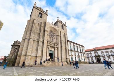 PORTO, PORTUGAL - FEBRUARY 27, 2017: Porto Cathedral (Se do Porto) in historical center of Porto.