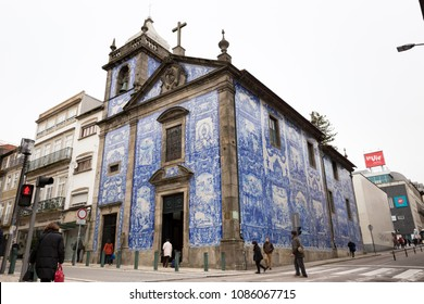 PORTO, PORTUGAL - FEBRUARY 27, 2017: Chapel of Souls, Capela das Almas, in Porto, Portugal