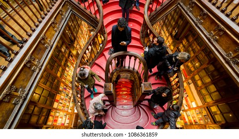 PORTO, PORTUGAL - FEBRUARY 27, 2017: Looking the stairs inside Lello Bookstore, famous book shop in Porto, Portugal