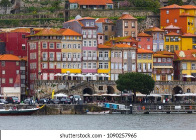 PORTO, PORTUGAL - FEBRUARY 27, 2017: Panoramic view of Douro river and the quarter of Ribeira from Vila Nova de Gaia, Porto, in Portugal