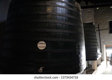Porto, Portugal – February 3, 2019: Winery Wine Barrels in Porto, Portugal, Europe