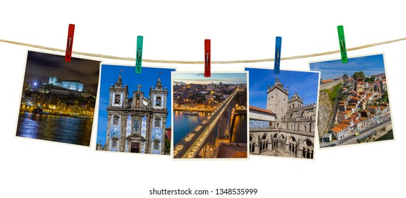 Porto in Portugal images (my photos) on clothespins isolated on white background