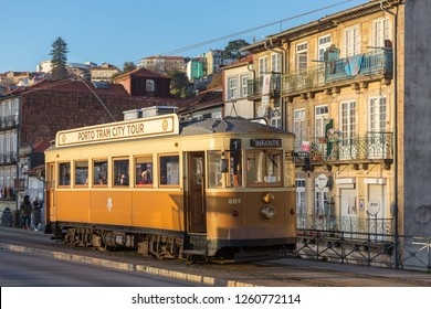 Porto, Portugal - January 18, 2018: Portuguese retro tram in Porto, Portugal.