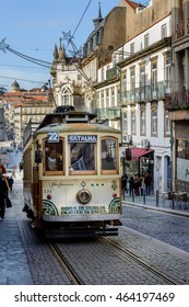 PORTO, PORTUGAL, JANUARY 2, 2016: Classic Tram in PORTO