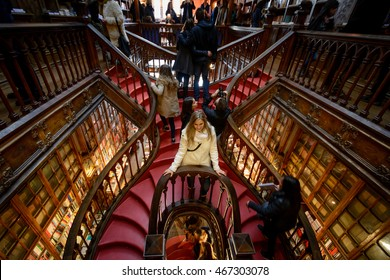 PORTO, PORTUGAL, JANUARY 2, 2016: The famous staircase inside the Lello e Irmao Bookstore in PORTO