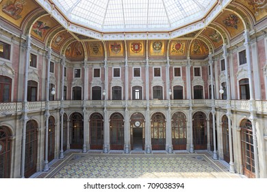 PORTO, PORTUGAL - JULY 06, 2017: The Palacio da Bolsa is a historical building in Porto, Portugal. The palace was built in the 19th century by the city's Commercial Association in Neoclassical style.