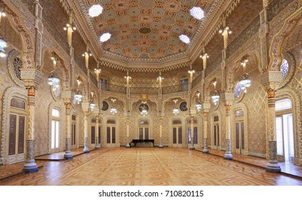 PORTO, PORTUGAL - JULY 07, 2017: The Stock Exchange Palace (Palacio da Bolsa) in the Arab Room. The palace was built in the 19th century by the city's Commercial Association.