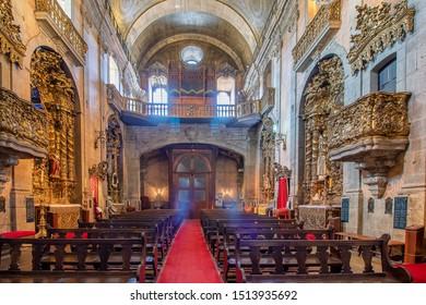Porto, Portugal - July 15, 2019: Interior of Church of the Venerable Third Order of Nossa Senhora do Carmo (Igreja do Carmo, XVIII century)