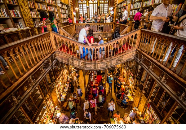 Porto, Portugal - July, 2017. High angle view of stairs in the bookstore Livraria Lello
